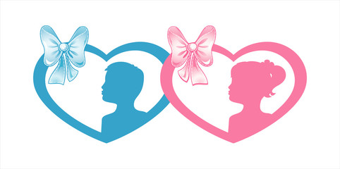 Blue and Pink boy and girl silhouette in hearts with bows. Silhouette of children twins. Vector