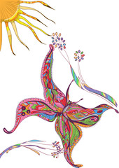 Hand drawn vector zentangle flying of butterfly with flowers and sun. Decorative abstract doodle design element.