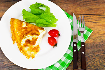 Healthy and Diet Food: Scrambled Eggs with Tomato, Lettuce and V