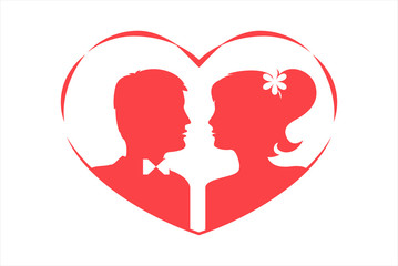 Silhouettes of loving couple in heart. Red against white background. Vector