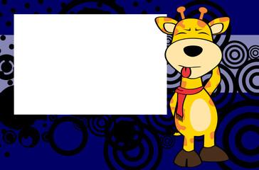 giraffe cartoon expression frame background in vector format