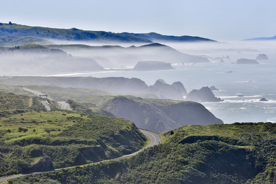 Foggy morning at Bodega Bay, Sonoma County, California, USA. Bodega Bay coastline in Sonoma Coast from highway one.
