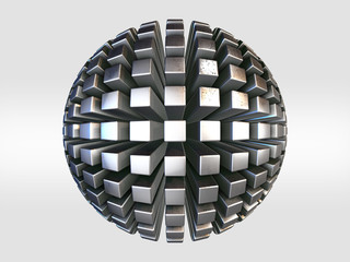 Futuristic outline shape. metal sphere background. Sci-fi background. Abstract object in empty space.3d Rendering