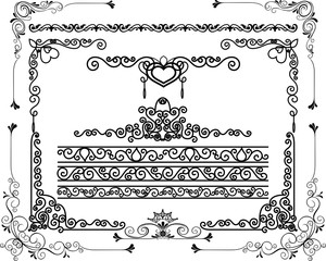 Design Elements Corners And Borders for sticker cut and frame floral, vector