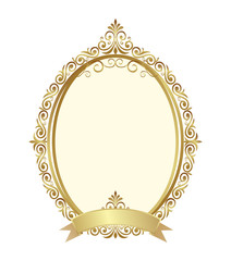 Wall Mural - Gold vintage frame isolated on white background