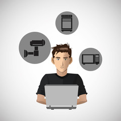 Social media with boy design over white background