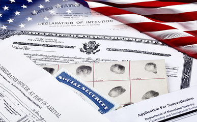 Immigration Documents with US Flag