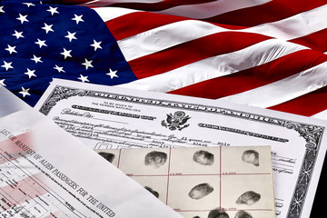 Citizenship papers with US Flag
