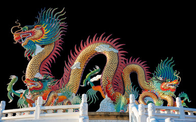 Colorful dragon statue on Black background