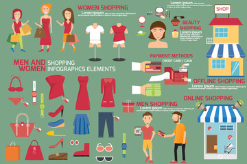 men and women shopping infographics elements, shopping infograph