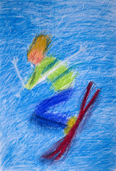 """Детский рисунок пастелью """"Лыжник"""""""