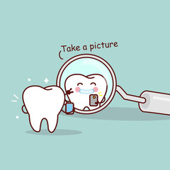 cartoon tooth take a picture
