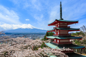 Mt Fuji, Chureito Pagoda or Red Pagoda with sakura.