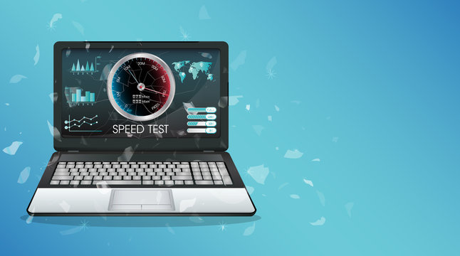 broken display laptop using internet speed test
