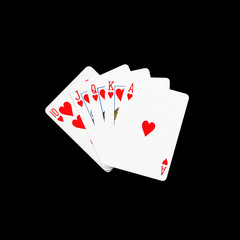 Royal Flush heart in poker