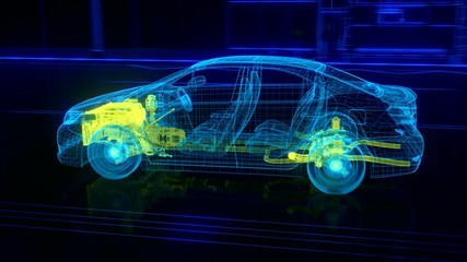 City car Wireframe View - engine and transmission details  3d render