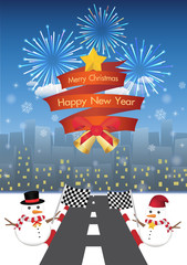 merry christmas and happy new year on a red ribbin and Snowman with road to night city background