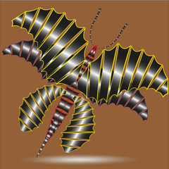 Illustration butterfly dragon Illustration butterfly dragon with six wings on a brown background for design and decorations
