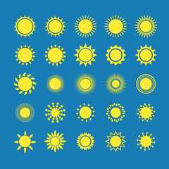 Sun icon with shadow set, vector illustration on blue background