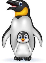 Happy emperor penguin with baby