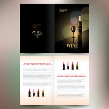 booklet catalog brochure folder wine red vine bokeh gold black b