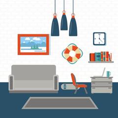 Modern Interior. Living Room. Room Design with Furniture.