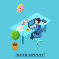 Modern Workplace. Isometric Office. Businessman at Work.