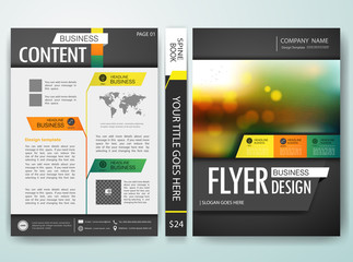 Brochure flyer annual report design template vector, Leaflet cover presentation with abstract bokeh blur background. Layout in A4 size with spine book design.illustration.
