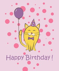 Happy birthday. Cat with tulips. Color card. Vector illustration