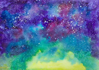 Galaxy cosmic space hand painted watercolor texture