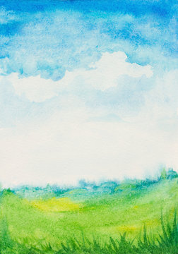 watercolor abstract textured background with sky, clouds, grass