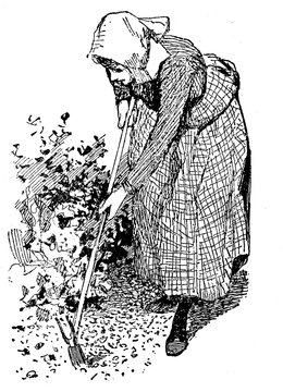 Horiculture vintage illustration, woman working in the garden with a hoe