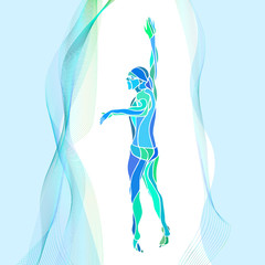 Freestyle Swimmer Silhouette. Sport swimming athlete