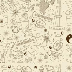 India seamless retro vector illustration