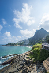 Scenic view from the coastal bike path connecting the neighborhoods of Ipanema and Sao Conrado (and to Barra beyond) in Rio de Janeiro, Brazil