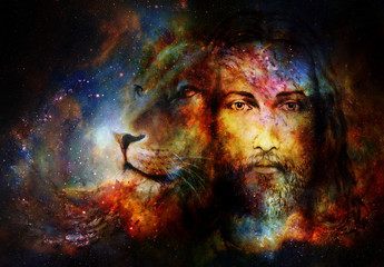 painting of Jesus with a lion in cosimc space, eye contact and lion profile portrait.