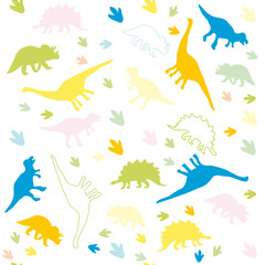 The ornament of multicolored silhouettes of dinosaurs.