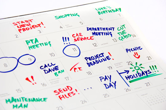 Calendar 2016 - busy month full of events