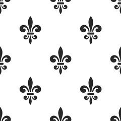 Golden fleur-de-lis seamless pattern. Black white template. Floral classic texture. Fleur de lis royal lily retro background. Design vintage for card, wallpaper, wrapping, textile. Vector Illustration