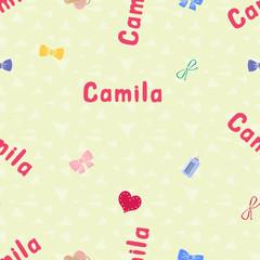 Seamless background pattern name Camila of the newborn