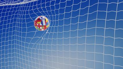 Fußball im Netz vom Tor bei EM