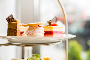 English afternoon tea desserts with beautiful breakfast snacks