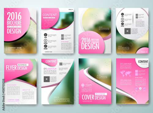 set of annual report brochures flyer magazine poster design template