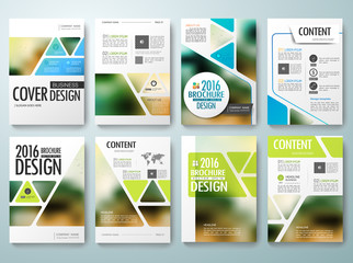 Set of flyers design template vector. Brochures annual reports poster magazine. Leaflet cover book presentation with abstract blur background. Layout in A4 size and green blue triangle.illustration.
