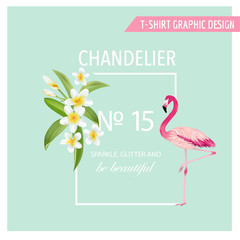 Tropical Flowers and Leaves. Flamingo Bird. Vector Background