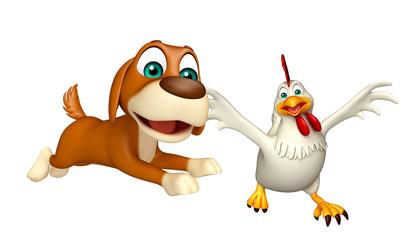 Dog hunting Hen