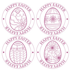 Happy Easter retro stamp with eggs