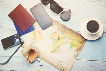 different travel items