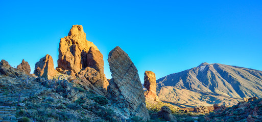 Panoramic view with Garcia stone, in Tenerife National Park, Spain