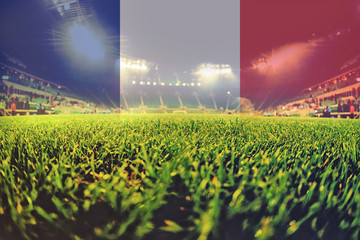 euro 2016 stadium with blending France flag